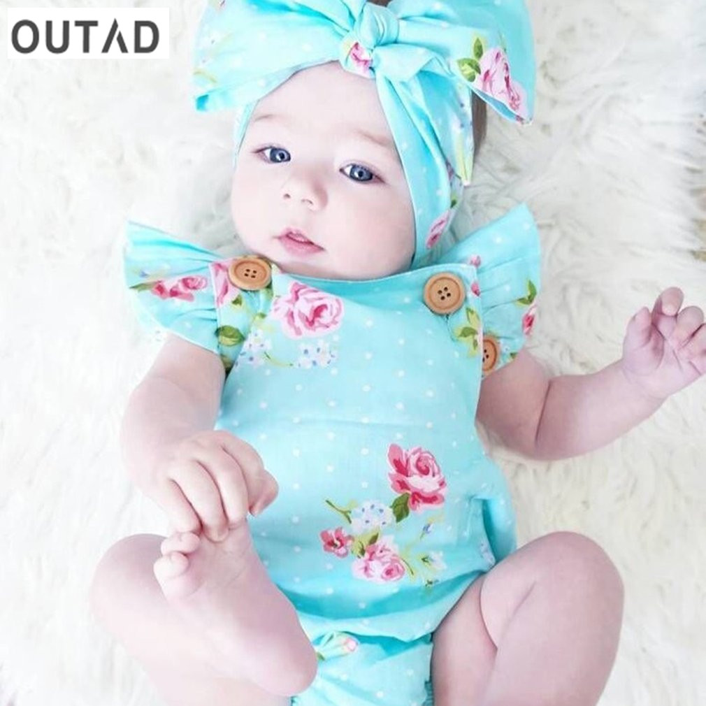 OUTAD Cute Baby Girls Clothing Set Summer Light Blue Floral Printed Rompers Jumpsuit Outfits with Headkerchief for Toddler 0-24M