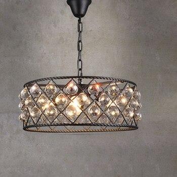 Черный железный роскошный круговой креативный современный подвесной светильник с кристаллами модные светодиодные лампы Chiip для гостиной б...