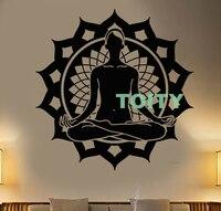 Vinyl Wall Decal Lotus Flower Pose Yoga Meditation Studio Sticker Home Interior Bedroom Decor Indian Design