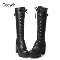 Gdgydh Hot Sale 2018 Autumn Lacing Knee High Boots Women Fashion White Square Heel Woman Leather Shoes Winter Large Size 34 43