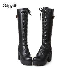 Gdgydh-Botas con cordones hasta la rodilla para mujer, botines femeninos de tacón cuadrado blanco, a la moda, zapatos de cuero sintético para el invierno, talla grande 43