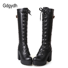 Gdgydh Shoes Winter Heel Lacing High-Boots Square Knee Autumn White Large-Size Fashion