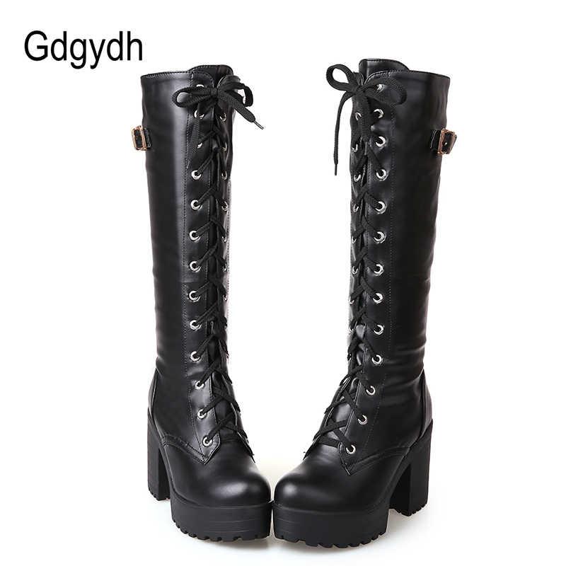 6e1e8f91ea9 Gdgydh Hot Sale Spring Autumn Lacing Knee High Boots Women Fashion White  Square Heel Woman Leather