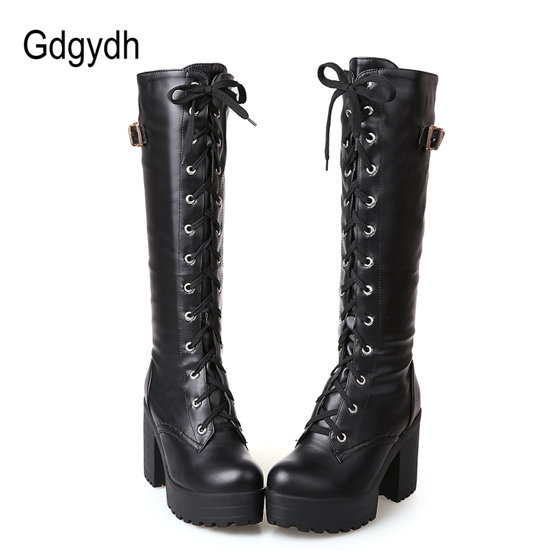 Gdgydh Hot Sale Spring Autumn Lacing Knee High Boots Women Fashion White Square Heel Woman Leather Shoes Winter Large Size 34 43