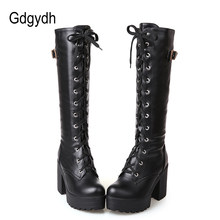 Gdgydh Hot Sale Spring Autumn Lacing Knee High Boots Women Fashion White Square Heel Woman Leather Shoes Winter Large Size 34-43(China)