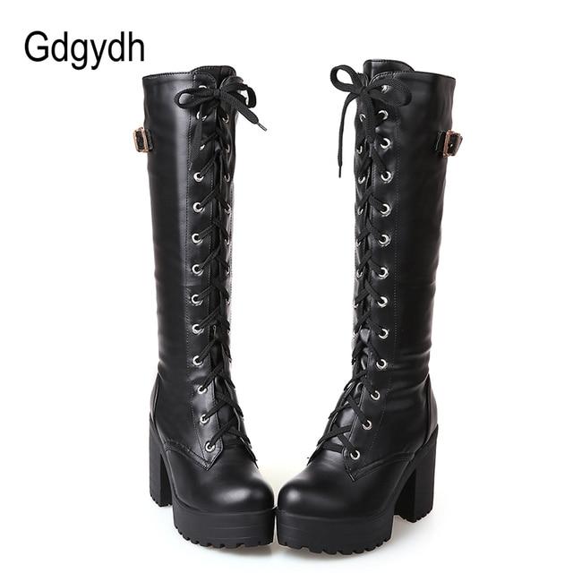 Gdgydh Sıcak Satış Bahar Sonbahar Bağcık Diz Yüksek Çizmeler Kadın Moda Beyaz Kare Topuk Kadın deri ayakkabı Kış Büyük Boyutu 34 -43