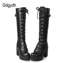 Gdgydhホット販売春秋ひも膝の女性のファッションホワイトスクエアヒール女性の革の靴冬pu大サイズ 43