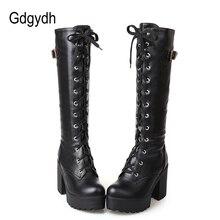 Gdgydh رائجة البيع ربيع الخريف جلد حذاء برقبة للركبة النساء موضة الأبيض كعب مربع امرأة أحذية من الجلد الشتاء بولي Large حجم كبير 43