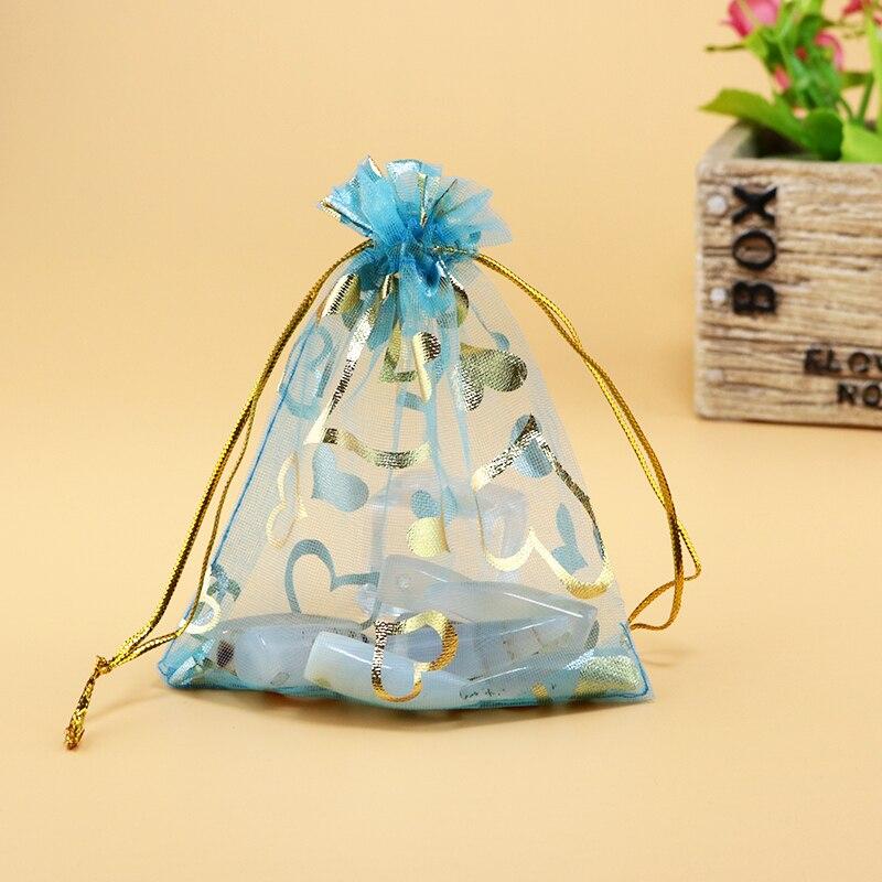 bbe60c20b 100 unids lago Azul 11x16 cm corazón organza joyería bolsa regalo del favor  del banquete de boda Bolsas organza barato Bolsas de tela pequeño cosmética  ...