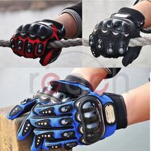 Hight Quality New PRO-Biker Motorcycle Gloves Antiskid Hand Protection Carbon Fiber ATV Racing Armored Gloves( Red, L)