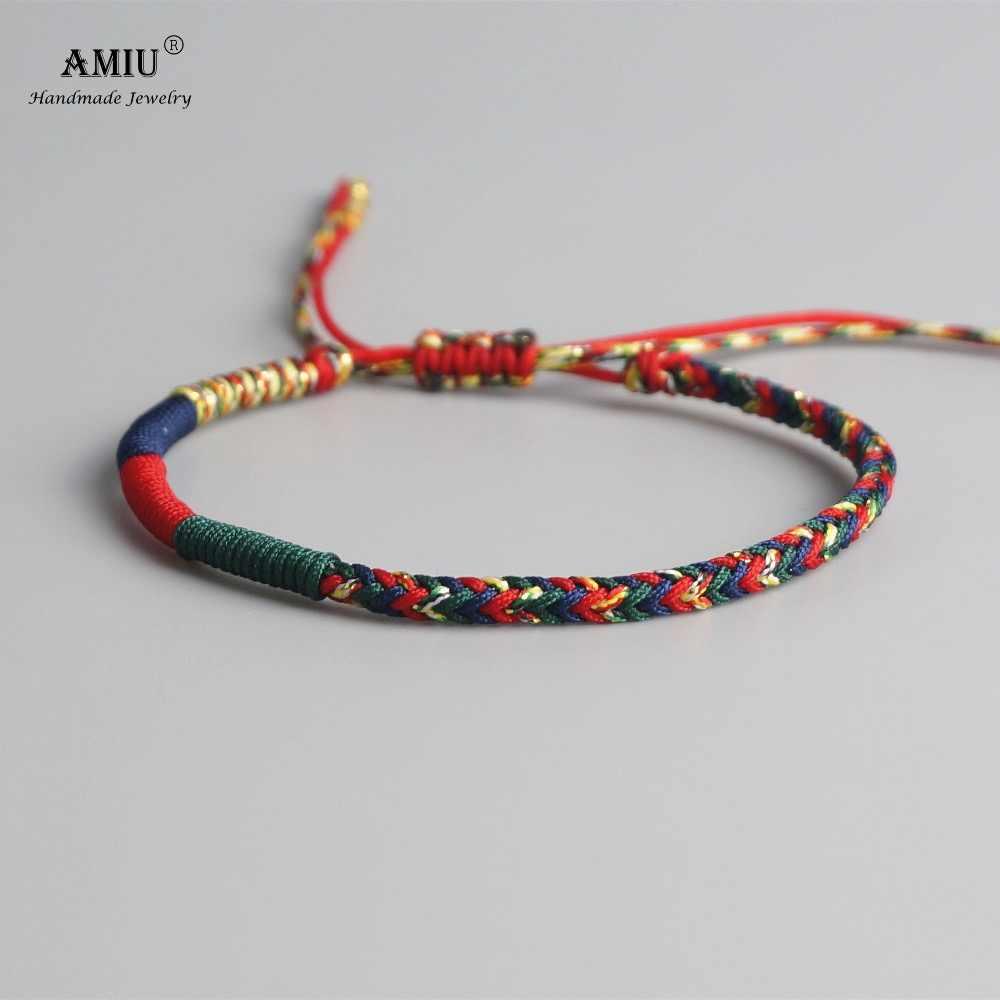 AMIU ทิเบตพุทธ Lucky Charm ทิเบตกำไลและกำไลสำหรับผู้หญิงผู้ชาย Handmade Knots เชือกสีเขียว Amulet สร้อยข้อมือของขวัญ
