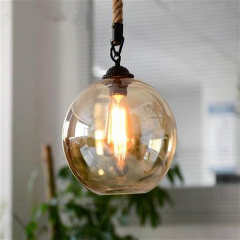 Modern Loft American Style Personality Hemp Retro Bar Chandelier Restaurant Creative Glass Clothing Store Lamp Free Shipping modern and simple aluminum chandelier creative personality restaurant bar clothing store chandelier free shipping