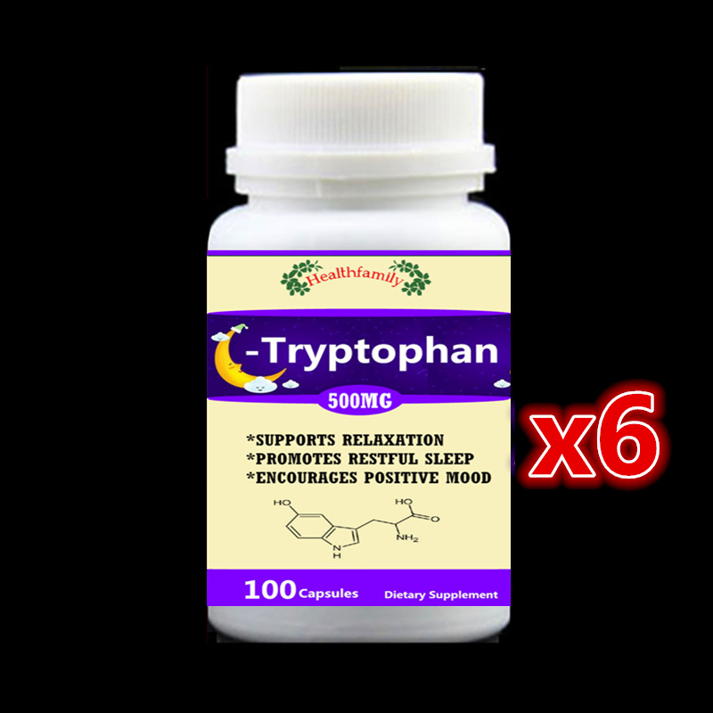 Tryptophan 99% L-Tryptophan - 6 bottle 600pcs - Support Relaxation Promote Result Sleep Aid Support Positive Mood,free shipping 100g bag l tryptophan food grade 99% usa imported l tryptophan