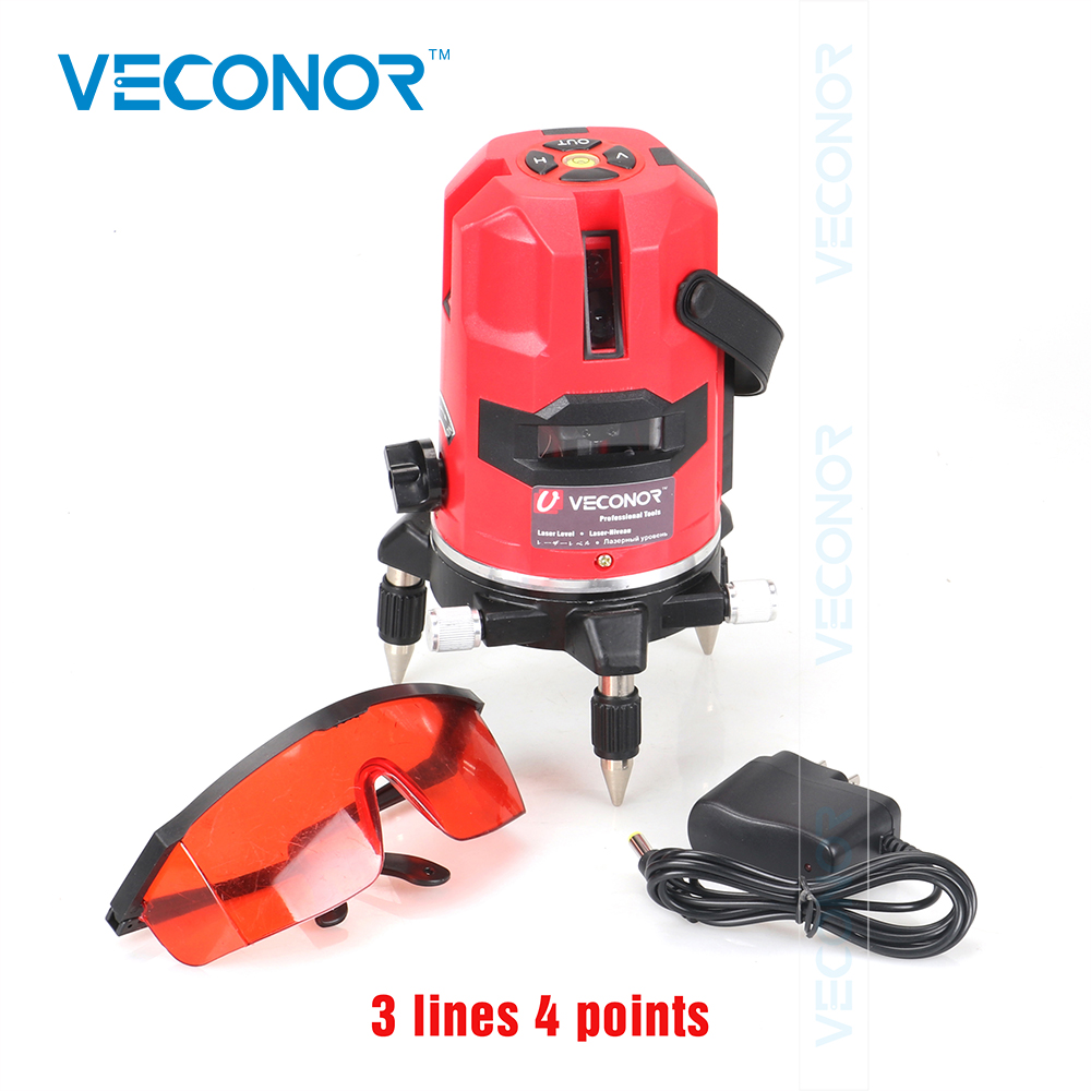 Veconor laser level 3 lines 4 points laser line projectors self leveling vertical horizontal line leveling tools thyssen parts leveling sensor yg 39g1k door zone switch leveling photoelectric sensors