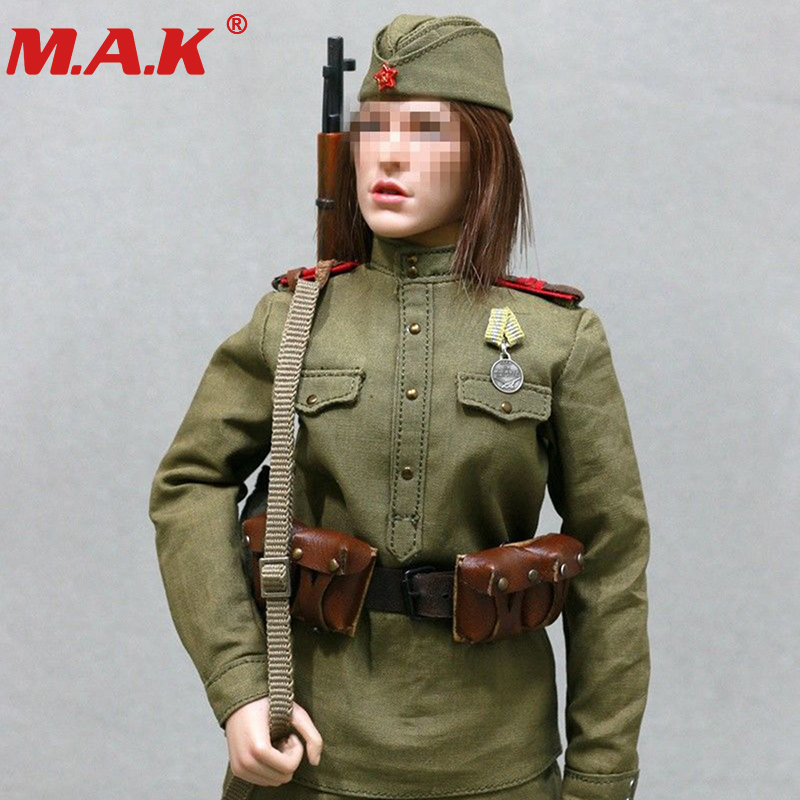 1/6 scale WWII female girl woman Soviet sniper solider clothing set military uniform for 12 action figure toys accessories