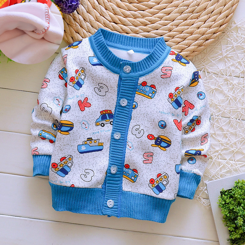 BibiCola Baby Sweater Cartoon Cardigan Leisure Clothes Toddler Baby Boys Girls Knitted Warm Sweaters Spring Autumn Kids Tops