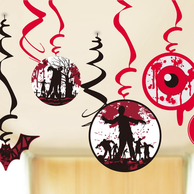 Pack Of 9 Creepy Halloween Party Swirls With Cutouts Flying Bats Bloody Eyeballs Zombies Crow