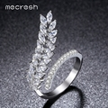 Mecresh Unique Wheat CZ Rings For Women Irregular Fashion Wedding Jewelry Rhodium /Gold Plated Adjustable Bague Femme JZ028