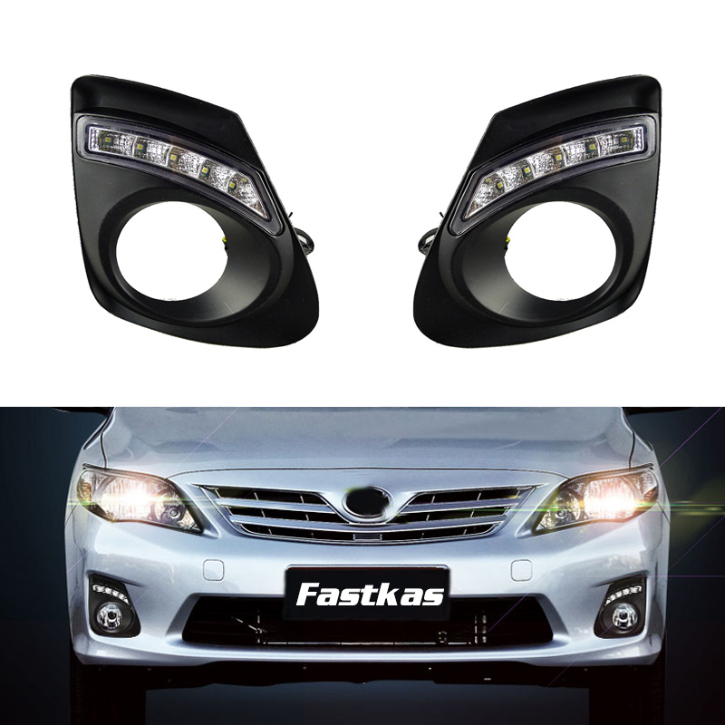 DRL for Toyota Corolla/Altis 2011 2012 2013 Daytime Running Light Assembly Left and Right Cover Daylight with Harness Relay 12v car fog light assembly for toyota corolla altis 2004 2005 2006 front left and right set fog light lamp kit harness relay
