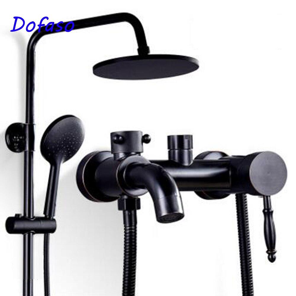 Dofaso antique mitigeur de douche de bain en laiton noir salle de bain ensemble de douche 8