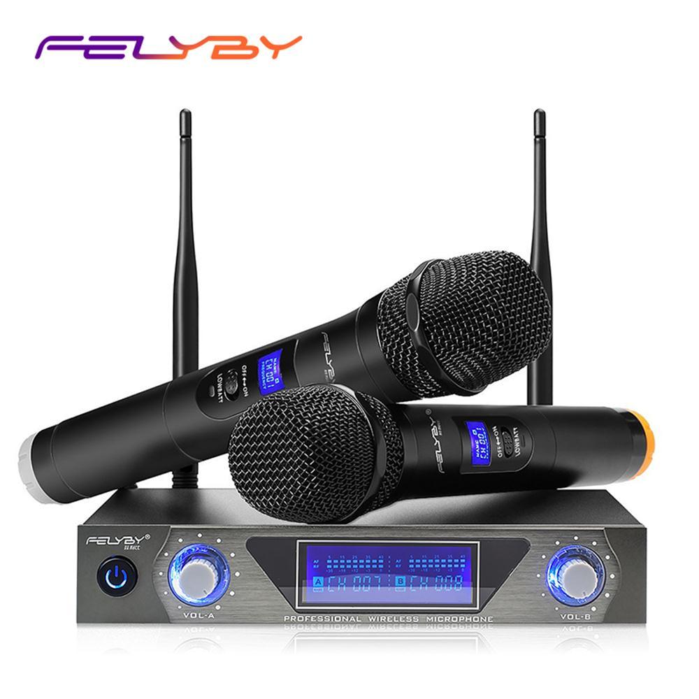 Système de Microphone sans fil portable FELYBY VHF avec Microphones dynamiques à double main pour réunion de classe karaoké