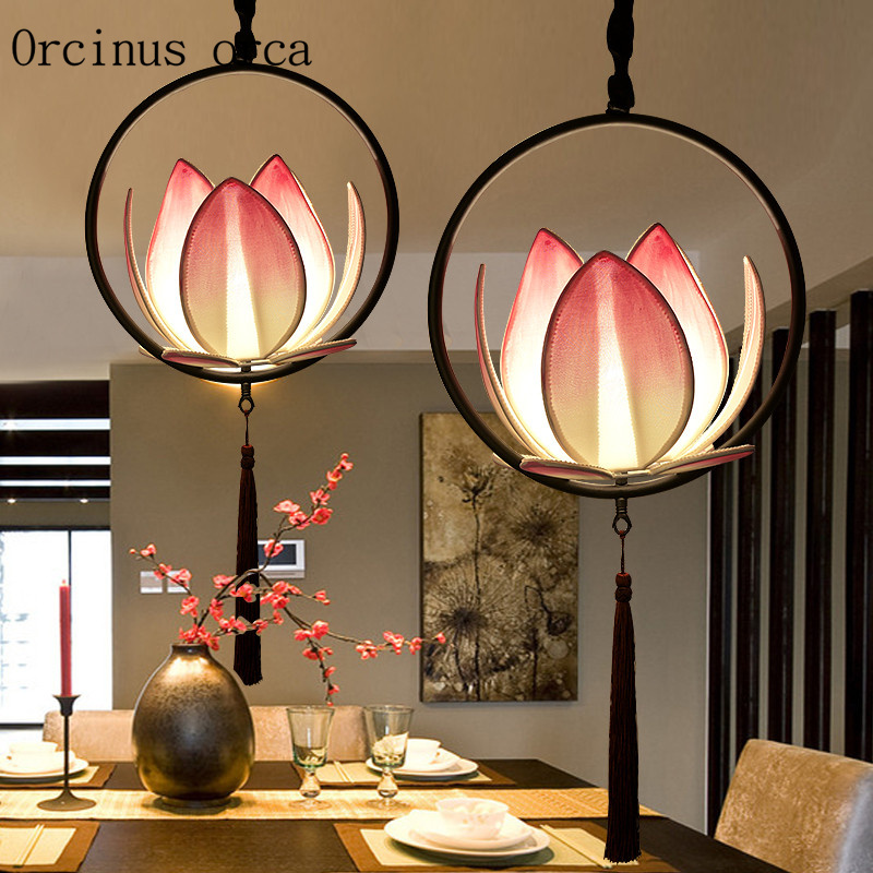 New Chinese Classical Lotus Pendant Lamp Tea Room Restaurant Aisle Chinese Style Zen Hand Painted Fabric Pendant Lamp