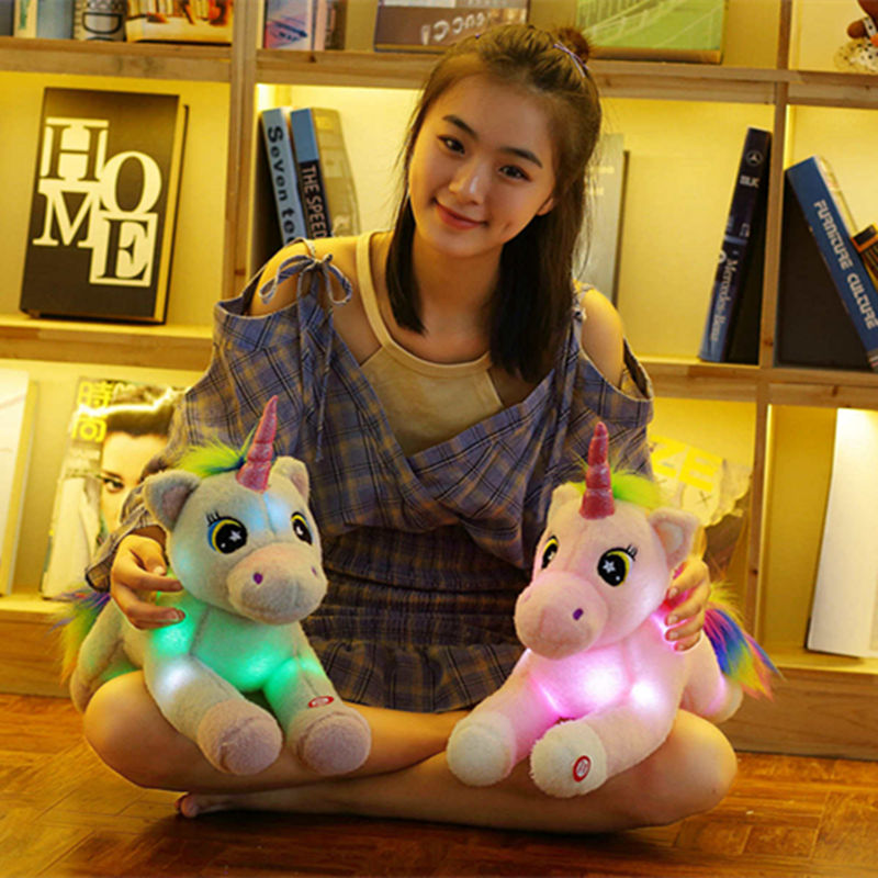 50 cm LED Einhorn Plüsch Tiere Puppe Spielzeug für Kinder Gefüllte Leucht Strahlend Plüsch Einhorn Geburtstag Weihnachten Valentine Spielzeug