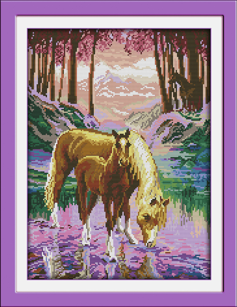 Joy sunday animal style The silent valley horse cross stitch pattern kits embroidery painting needle craft stores