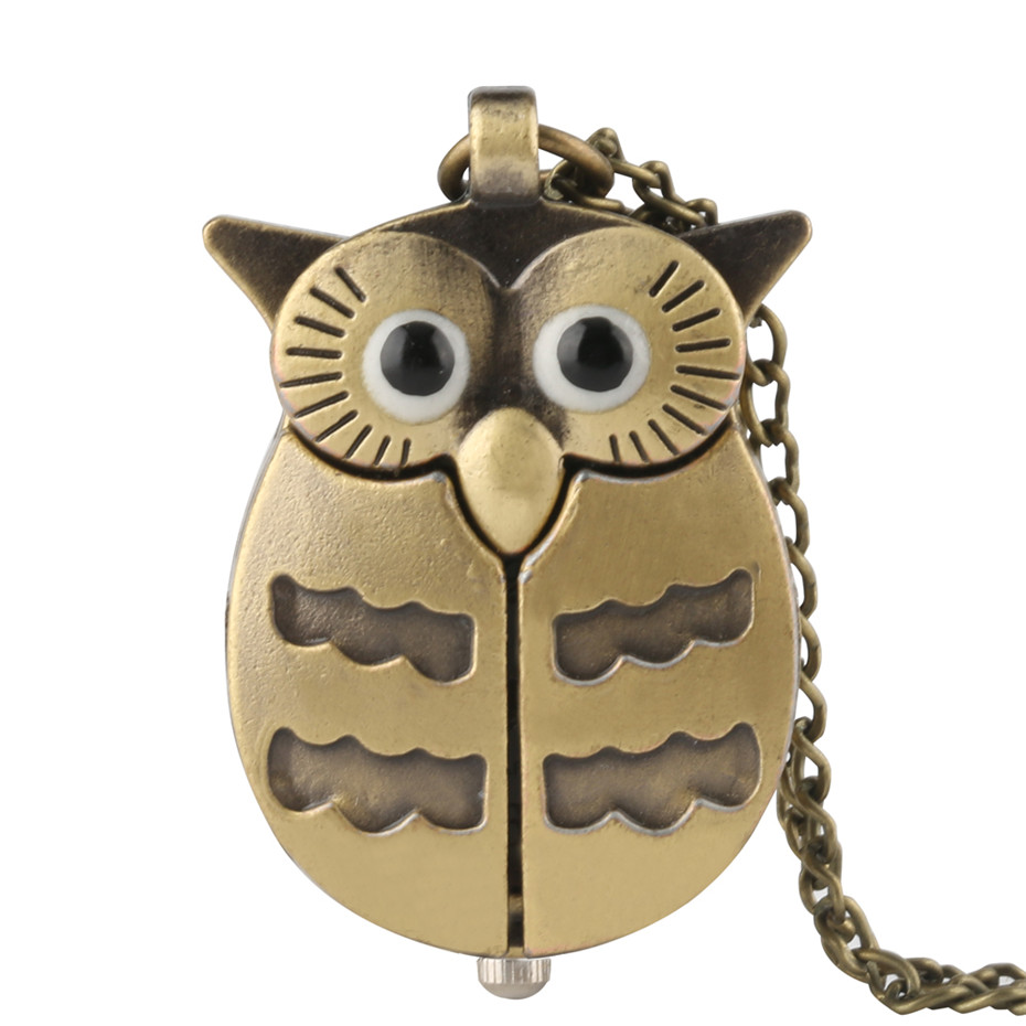 Fashion Bronze Lovely Owl Quartz Pocket Watches With Necklace Chain For Kids Boy Girl Cute Clock For Exquisite Gift