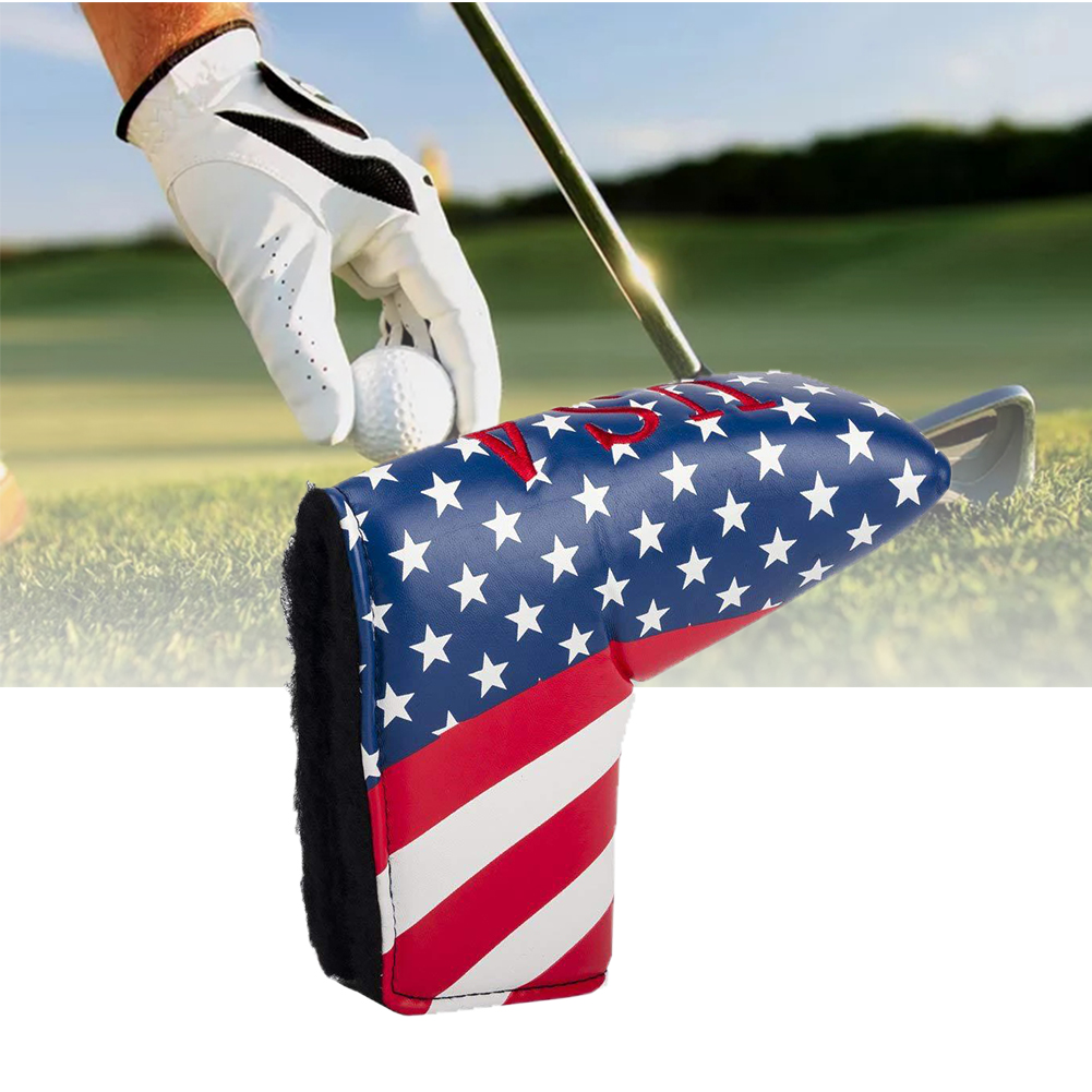 Blade For Scotty Storage Waterproof American Flag Outdoor Golf Putter Cover Protective Durable PU Leather Headcover Portable