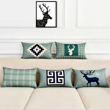 Nordic Style Cushion Cover Elk Printing Sofa Linen Pillowcase 30*50 Waist Family Chair Bedroom Bedding Decorate