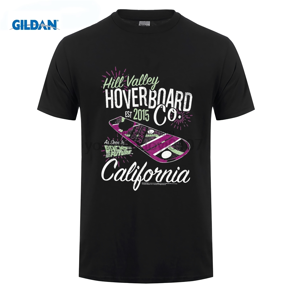 GILDAN funny t shirt 2016 Brand Tshirt Homme Tees Back to the Future Hill Valley Hoverboard Company Navy Adult T-shirt
