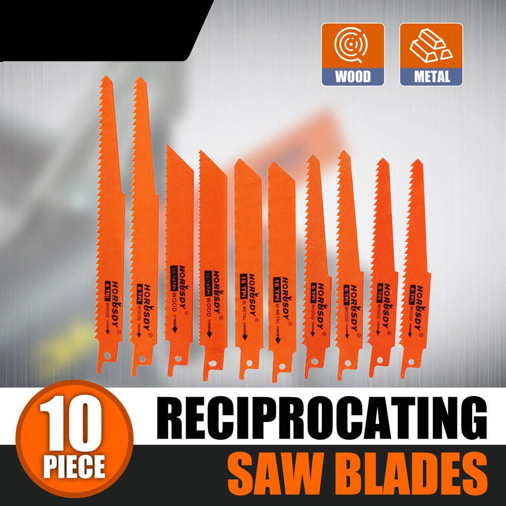 SEDY 10Pcs Reciprocating Saw Blades Set Electric Saw Zall Hackzall Metal Wood 1/2