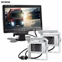 DIYSECUR 2 x 4pin Night Vision Rear View Camera Car Camera + DC 12V-24V 7inch TFT LCD Car Monitor System for Bus Houseboat Truck