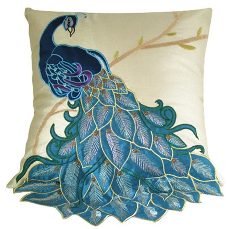 New Fashion Vivid Peacock Decorative Pillow Case Fancy Lumbar Cushion Cover Sham цена и фото
