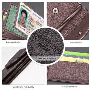 Image 5 - Laorentou Business Card Holder Genuine Leather Drivers license Case Holder Vintage Casual Clutch Card Position Purse for Men