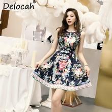 Delocah 2019 Women Summer Dress Runway Fashion Sleeveless Printed Beading High Waist Elegant Vintage Ladies A-Line Short Dresses