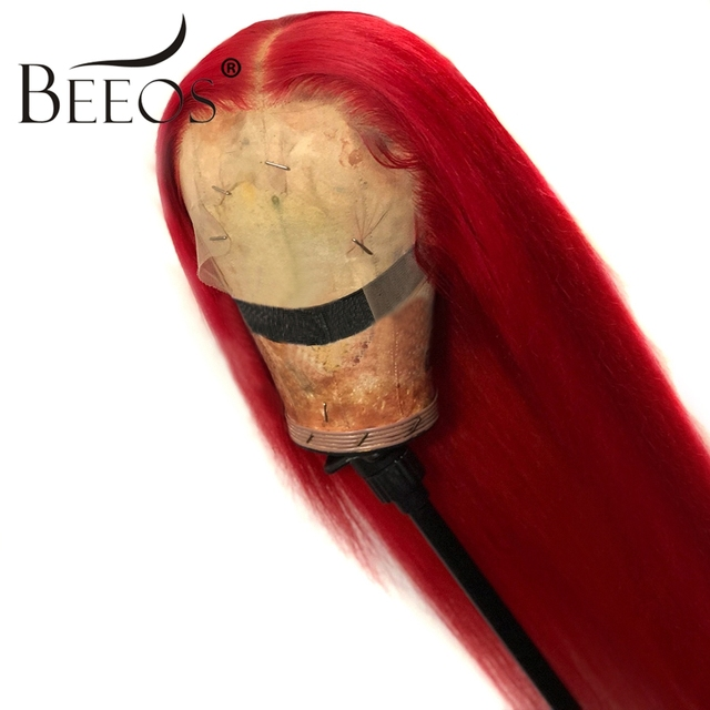 $ US $74.20 Beeos Red 13*6 Lace Front Human Hair Wigs for Women Straight Lace Front Wig Deep Part Peruvian Remy Human Hair Wigs Pre Plucked