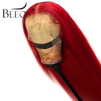 Beeos Red 13*6 Lace Front Human Hair Wigs for Women Straight Lace Front Wig Deep Part Peruvian Remy Human Hair Wigs Pre Plucked
