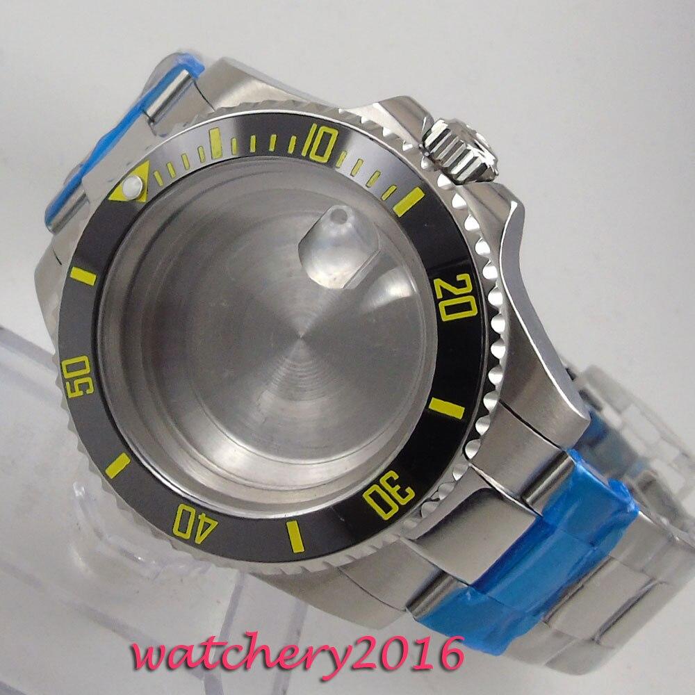 40mm Sapphire Glass Ceramic bezel Watch Case set fit 8205 8215 821A 2836 Movement40mm Sapphire Glass Ceramic bezel Watch Case set fit 8205 8215 821A 2836 Movement