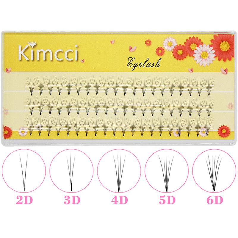 Kimcci 2D/3D/4D/5D/6D Professional Individual Cluster Eyelashes Extension Natural Soft Black Grafting False Eyelash Makeup Cilia