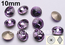 Free Shipping! 10mm Violet Crystal Rivoli Fancy Stones, 200pcs/Lot, China Top Quality Round Silver Foiled Crystal Rivoli(China)