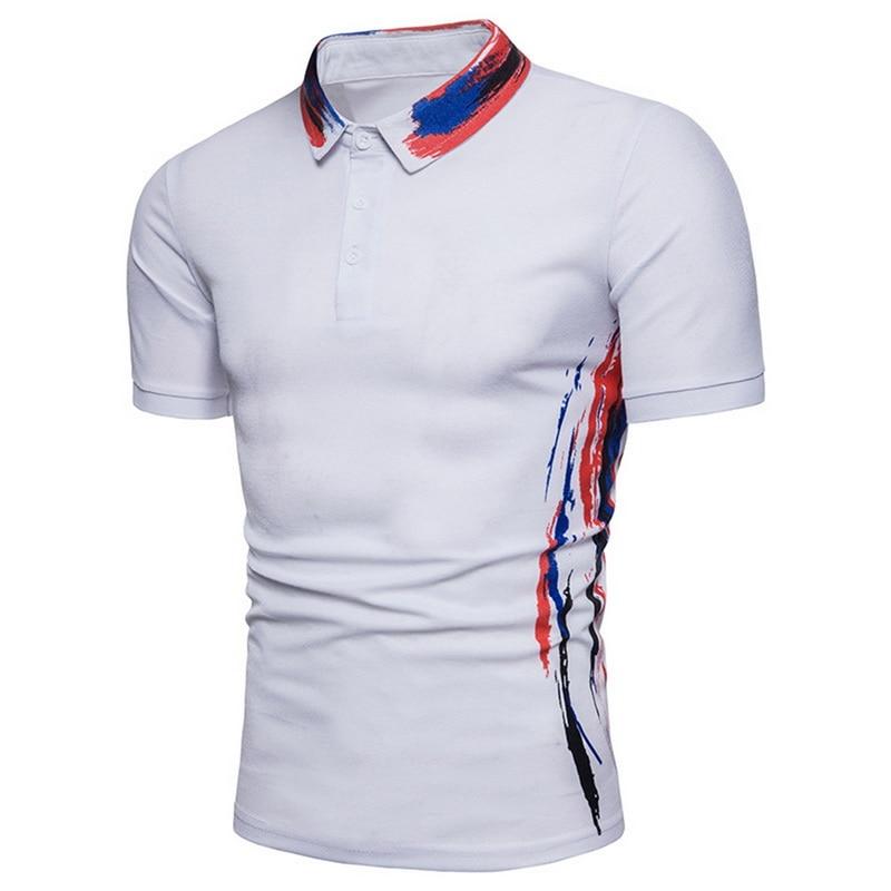 Laamei 2019 New Summer Men Fashion Short Sleeve Polo Shirt Mens Black White Button Print Tee Tops Male Casual Breatable Shirt