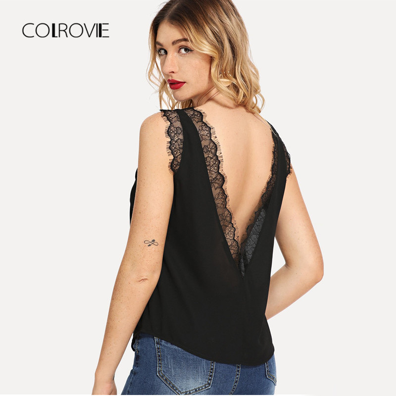 COLROVIE Black Lace Trim Deep V Back Sexy   Tank     Top   Streetwear Camisole 2018 Summer Sleeveless Cami Vacation Women   Tops   Tee
