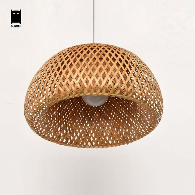 Bamboo Wicker Rattan Shade Pendant Light Cord Fixture Rustic Japanese Round Hanging  Lamp Avize Luminaria Restaurant