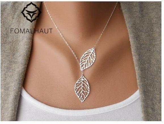 FOMALHAUT Simple Hollow Double Leaf gold color Fatima Bar Necklace Long Strip Pendant Necklaces Women 2015 Jewelry XJ 02|bar necklace|necklace longnecklace women - AliExpress