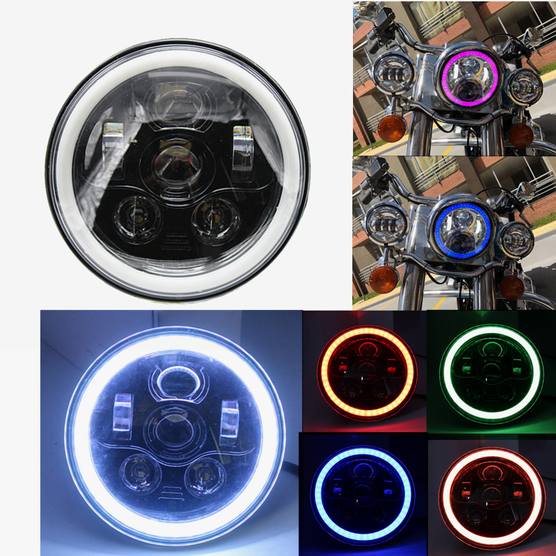 "2017 New Product 7"" Inch Round LED Motorcycle Headlight with Hi/Low Beam Halo Ring self-drive RGB"
