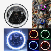 2017 New Product 7 Inch Round LED Motorcycle Headlight with Hi/Low Beam Halo Ring self drive RGB