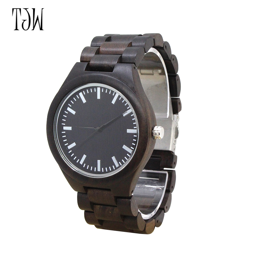 TJW Hot Sell Fashion Men Bamboo Wood Watches Men's Quartz Hour Clock Vintage Retro Wooden Wrist Watch Male Relogio redear vintage full wood wrist watches men watch ebony bamboo wooden watches wood strap men s watch japanese movement clock saat