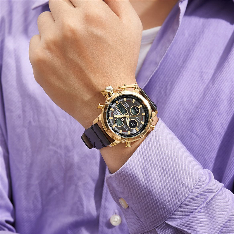 Золотистый и черный двойной Дисплей часы Мужской Аналоговые Цифровые спортивные часы дропшиппинг